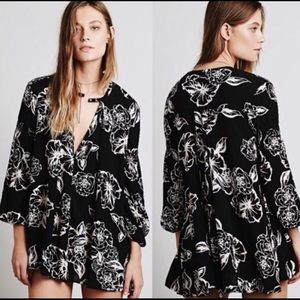 Free People Tree Floral Swing Black Tunic | M